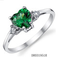 High Quality Green Spinel Jewelry Ring Sterling Silver Heart Engagement Rings For Woman DR031951R