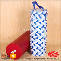 Rigid cardboard wine glass cylinder packaging with handle
