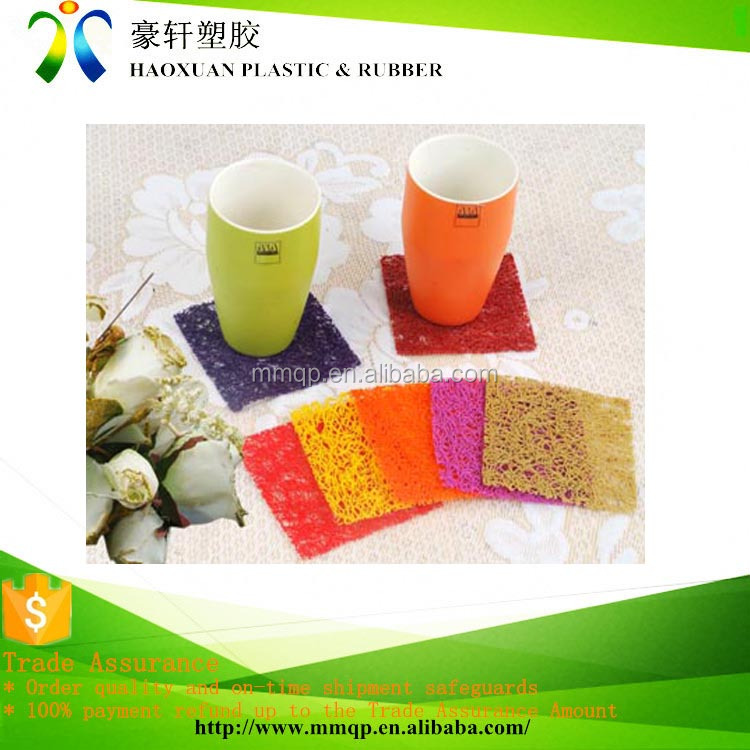 pvc coil rubber square pallet cup coaster holder
