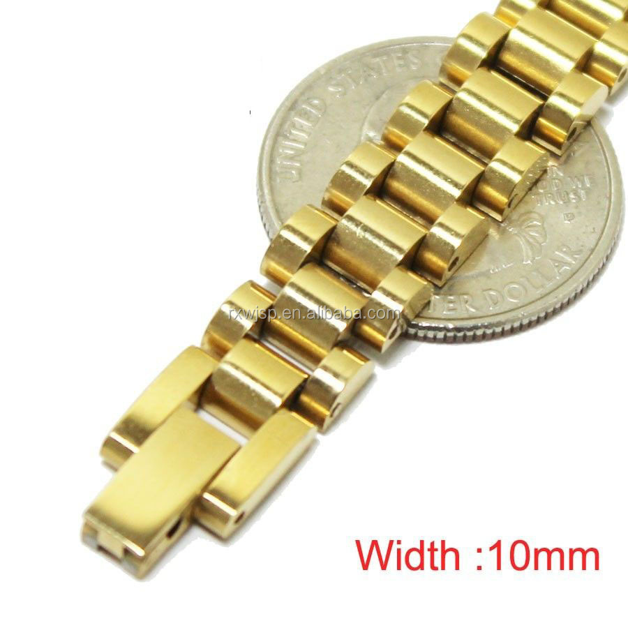 "7.5""--9.5""MEN's Stainless Steel 10mm/15mm Gold Plated Watch Band Link Chain Bracelet"
