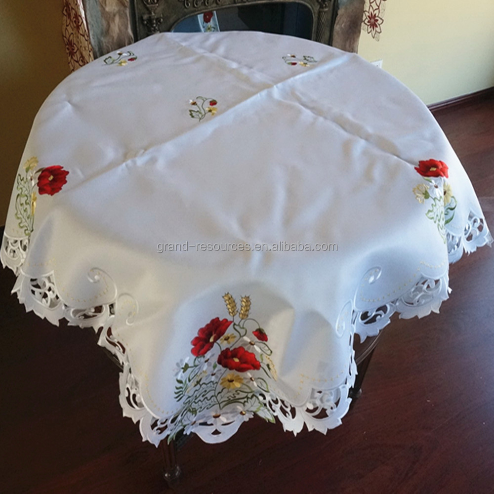 embroidered flower design table cloth