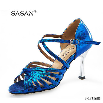 Sparkle Blue Woman 7 Strap Cross Ankle Strap Latin Dance Shoes