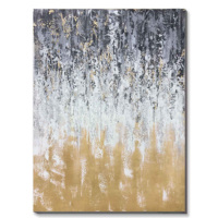 Abstract Design Grey Gold Handmade Wall Oil Painting On Canvas Stretched Art