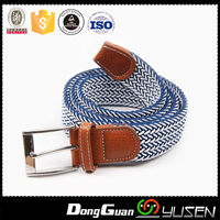 Hot Selling Unique Leather Covered Woven Elastic Stretch Belt for Unisex