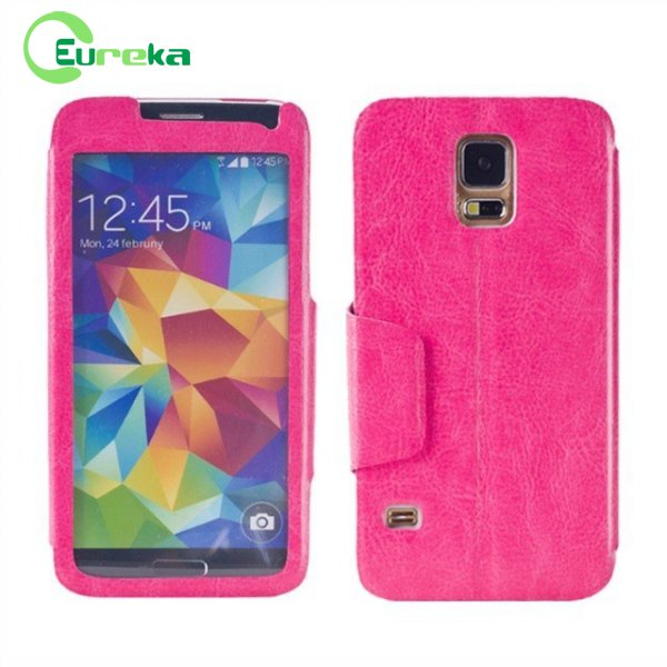 High quality wholesale pu leather phone case for Samsung S5 I9600
