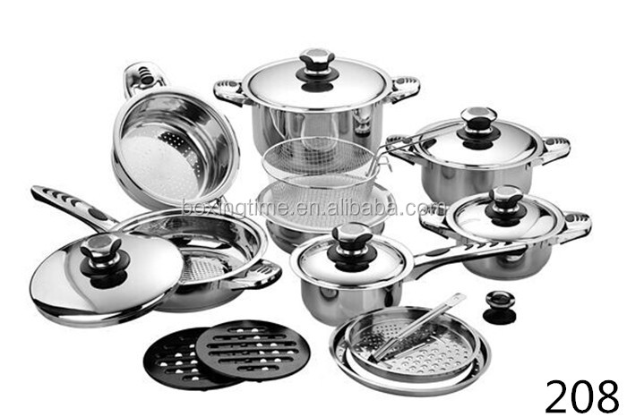 hot sell cooking pots 21 pcs stainless steel thermometer cookware set