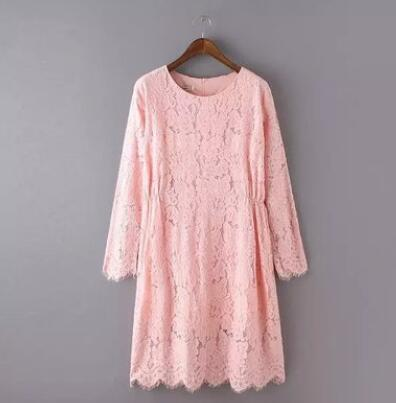 zm20743a long sleeve lace pink dress for women