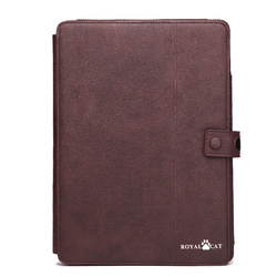 dark brown leather tablet cover case for ipad air 1/2/3 with stand, card holders and holding belt