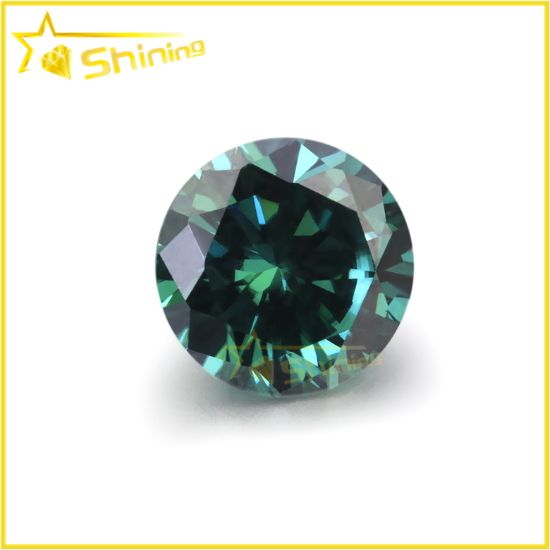 wholesale round brilliant cut green colored moissanite natural moissanite
