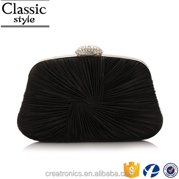 CR Social audit authentication passed wrinkled satin surface design diamond buckle black rhinestone box clutch
