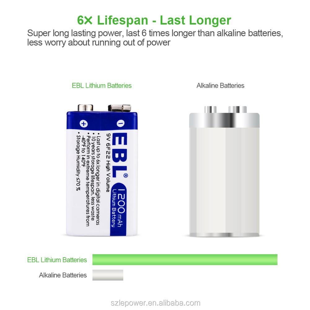 EBL 9V Battery 1200mAh Lithium Ion Battery Eco-friendly Anti-leakage Batteries