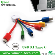 Wholesale 6 in 1 multifunction Type-C cable car audio aux 3.5mm usb cable
