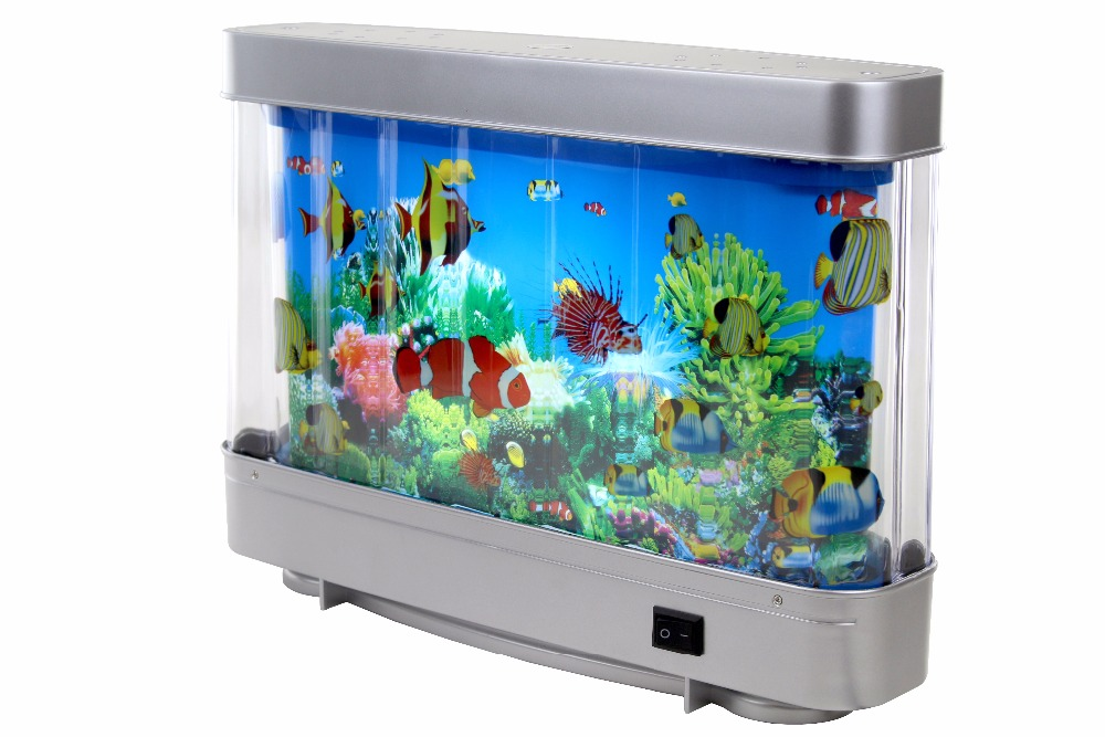 6W Battery Powered Decorative Rotating Lamp Fake Fish Tank Aquarium With LED, Decorative LED Night Light With Moving Fish