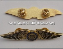 metal pilot wings pin badge with butterfly clasp