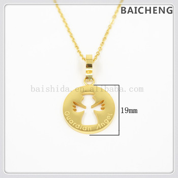 Latest Design Saudi Gold Jewelry Set 18k Pendant Classic Guardian Lucky Stainless Steel Angel Necklace