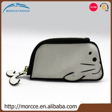 Popular Quality Assurance SGS Certification Support custom logo black / white PU leather coin purse cute