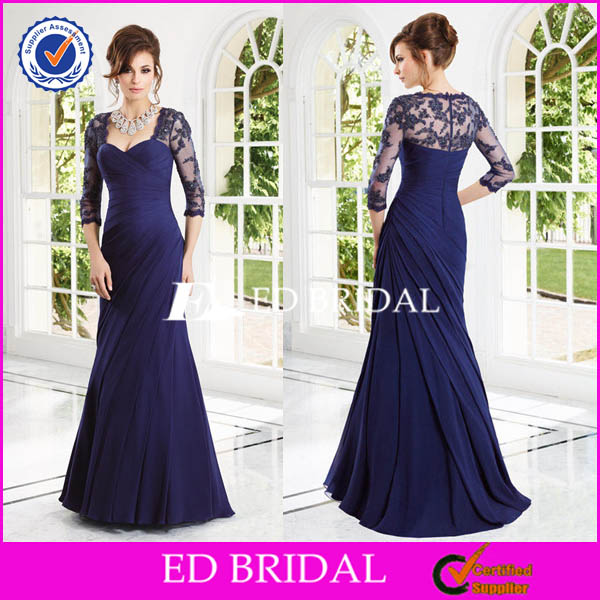 XL985 off shoulder royal blue modest lace long sleeve mother of the bride beach wedding dress