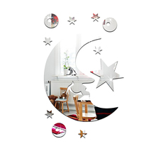 Custom Fashionable Moon And Star Acrylic Wall Mirror Diy Stickers