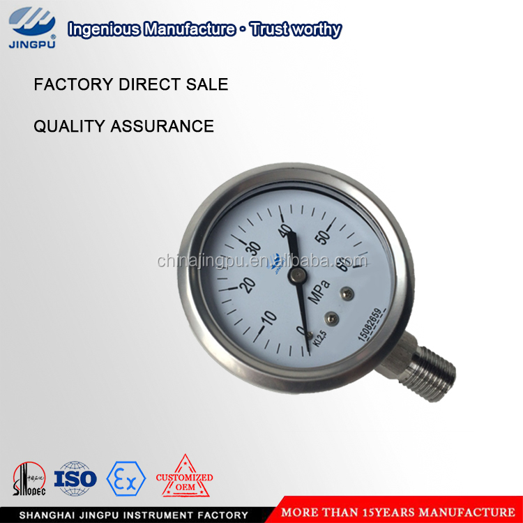 high precision 10000psi stainless steel air gas water hydraulic oil bourdon tube pressure gauge