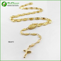Stainless steel 18k gold plated rosary chain necklace