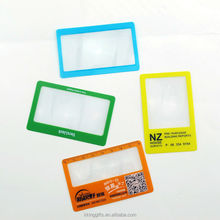 Fashion design colorful plastic 100x magnifying glass business cards/ wall mounted lighted magnifying glass bookmark