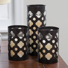 Metal Traditional Cutwork Pattern Hurricane Candle Holders - Set of 3