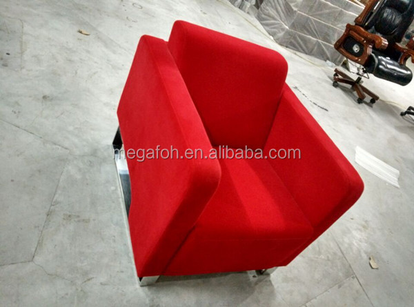 Modern red fabric sofa couch design in Guangzhou(FOH-8695)