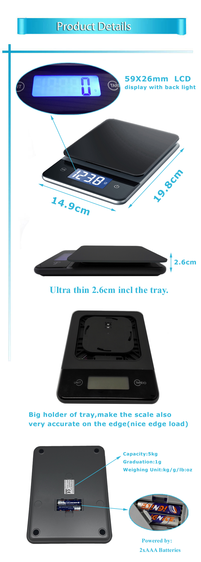 China 2017 Best Supply Good Price 5KG Glass Electronic Digital Food Kitchen Scale