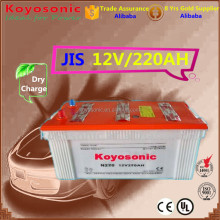 High Performance 12v 220AH Dry Charged Lead Acid Car Starting Batteries VRLA AGM JIS Japan Standard Automobile battery