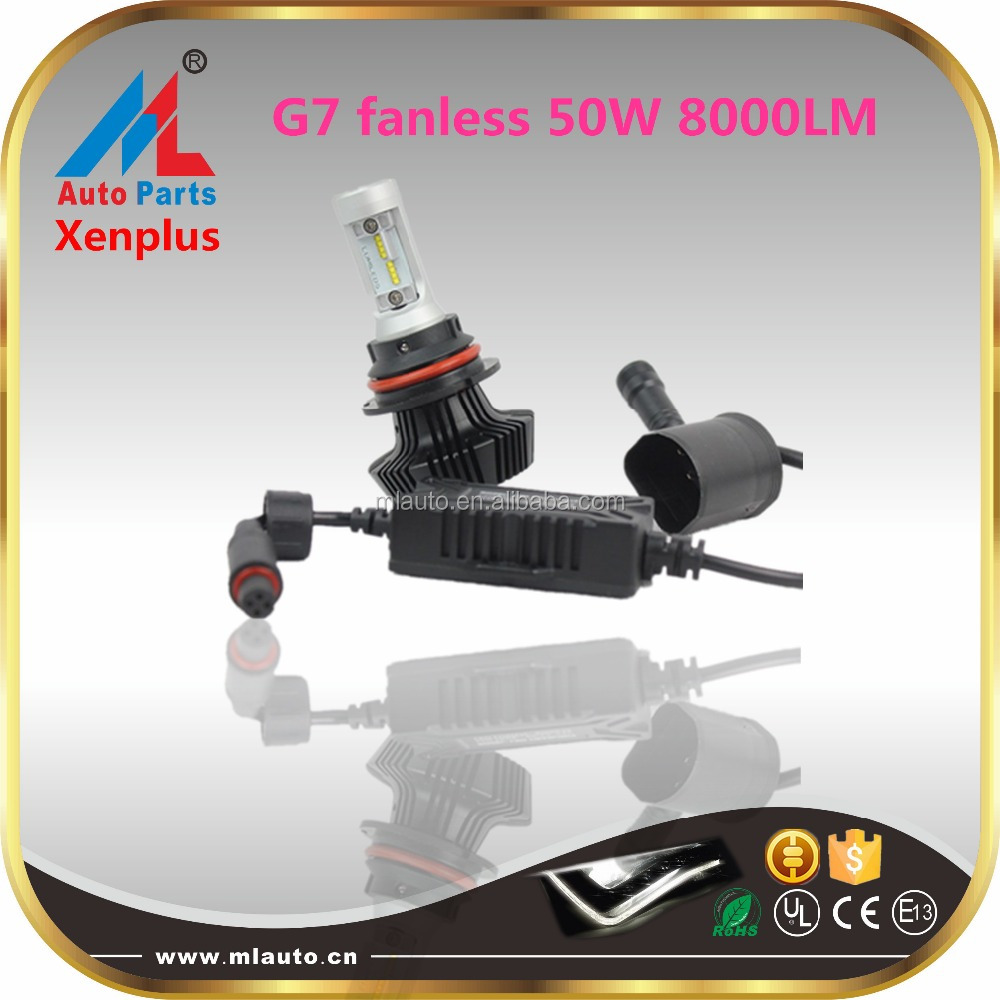 G7 Fanless led headlight kit 50W 8000LM LED H1 H3 H4 H7 H8 H9 H10 H11 H13 H16 9004 9005 9006 9007 LED light bulb