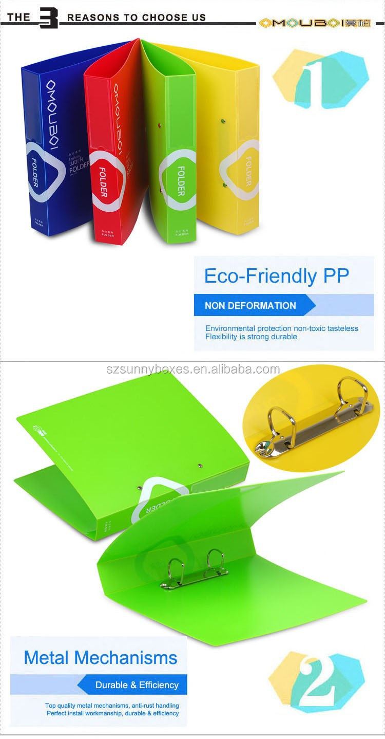 Wholesale A4 Color PP Clear Pocket custom Folder with 2 Ring Binder