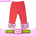 Red with white dots baby leggings wholesale baby girls icing ruffle pants