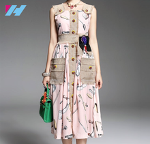 wholesale new women dress design summer fashion printed elegant tunic retro maxi casual long sleeve long dress