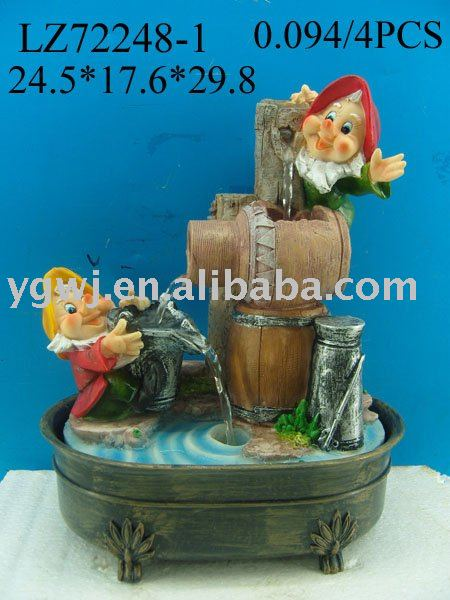 polyresin indoor fountain gnome water fountain