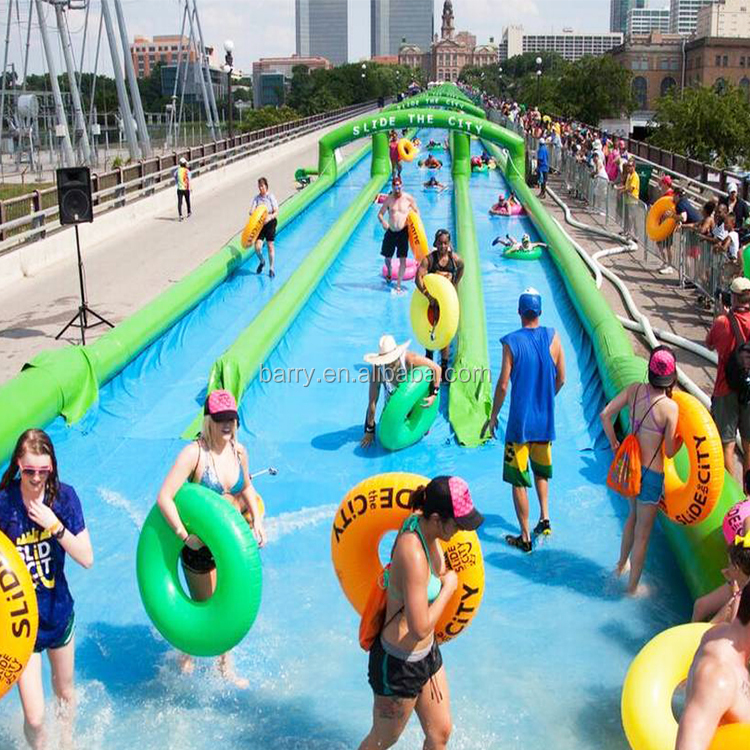 Outdoor big event three lane pvc tarpaulin 300m green inflatable slip n slide,slide the city for aduct