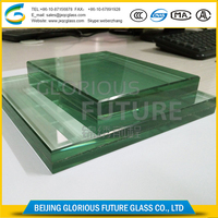 Tempered sandwich laminated glass with PVB film