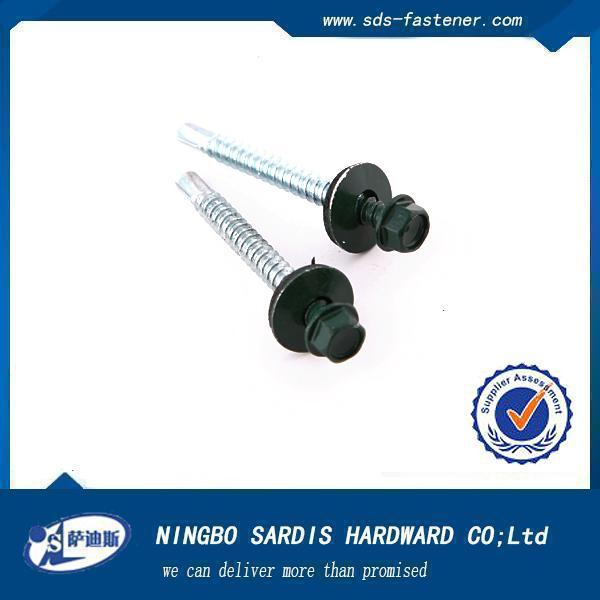 China manufacturer&exporter&supplier zinc ind. hex washer head Self Drilling screws with EPDM