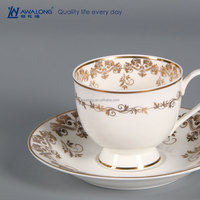 Fashion Porcelain Coffee Cup And Saucer Bone China tea cup with customized logo