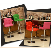 China chrome leather counter height adjustable bar stool with armrest