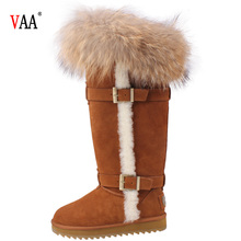 CF- 128 Free Samples Latest Design Knee Length Genuine Leather And Natural Racoon Fur Men Snow Boots Fur Pocket