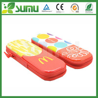 high quality cheap school promotional metal colorful cute zipper double side tinplate pencil case