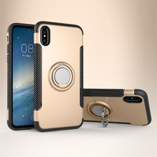 Dual Layer Hybrid Bumper 360 Ring Holder Combo Phone Case Cover For iPhone X With Car Holder Function
