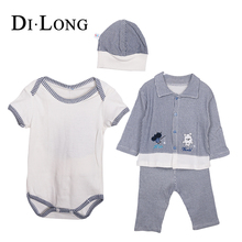 Cotton New Born Baby Pajama Romper Clothing Set Baby Jumpsuit With Hat