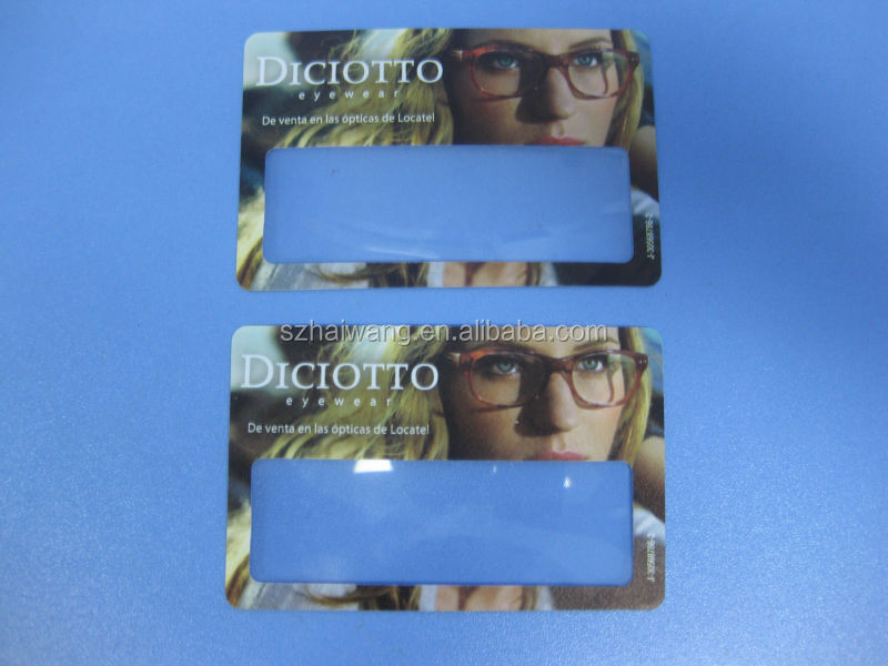 HW802 85*55mm Pocket Plastic Credit Card Size Magnifying Glass for Promotional