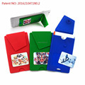 3m sticker silicone smart wallet,silicone card holder with button