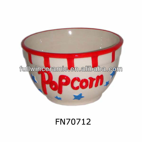 Hand-painted Small Ceramic Popcorn Bowl