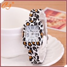 The New Leopard Grain design Watch strap Geneva Plastic Flowers Watch sourcing