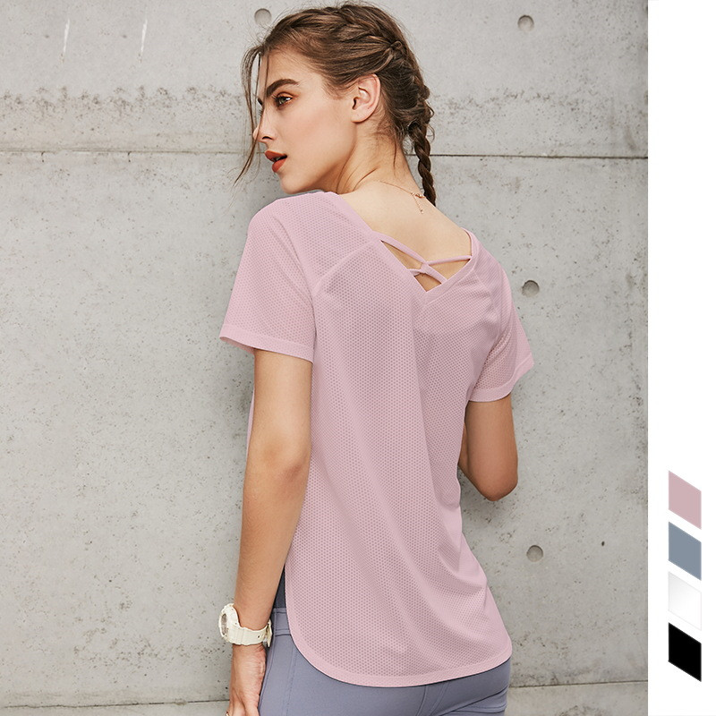 In Stock Wholesale Women Summer Sportswear Fitness Quick Dry Yoga Crop Top Sport Shirts Cool Short Sleeve Tank Tops