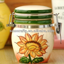 sunflower tea sugar coffee ceramic storage container