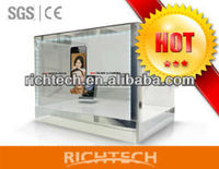 22'' Transparent three side video glass store mobile phone display showcase with best price